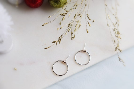 14kt gold filled / silve circle earrings