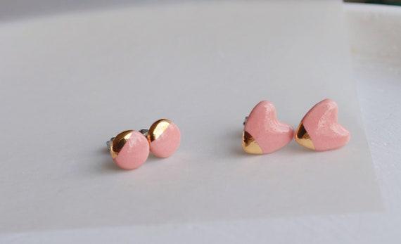 Dainty pink ceramic studs /22kt gold luster