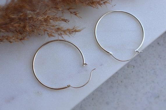 Endless big circle hoop silver earrings