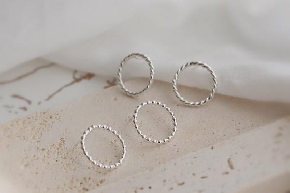 Patterned Minimal silver medium studs, sterling silver, minimalist,circles