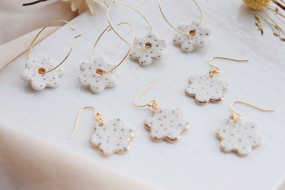 Flower shaped polka dots  porcelain earrings
