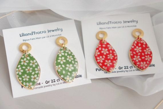 Daisies porcelain dangle  earrings