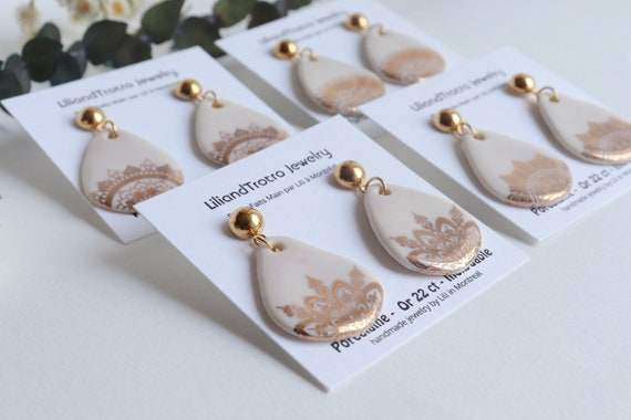 Teardrop white  Mandala dangle earrings