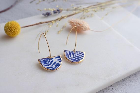 Semi circle  leaves gold rim Dangle porcelain Earrings