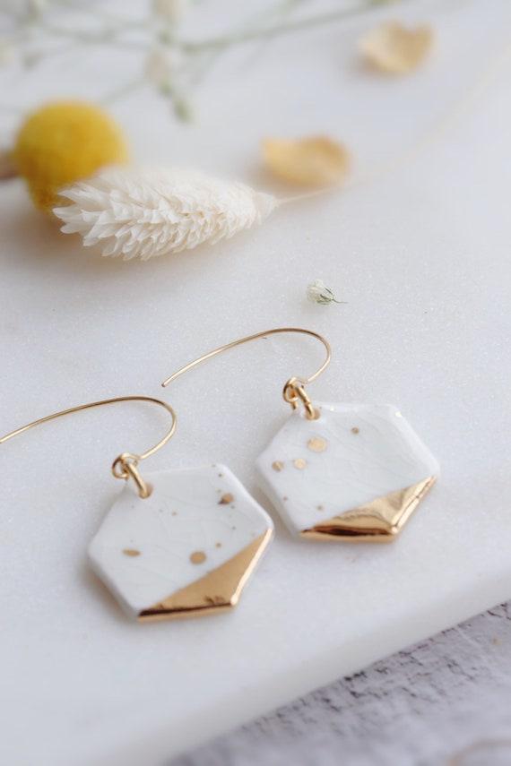 Mint/white crackle glaze porcelain earrings