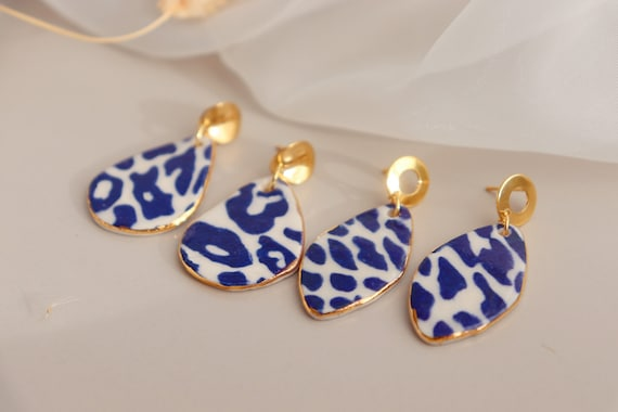 Green leopard Porcelain earrings
