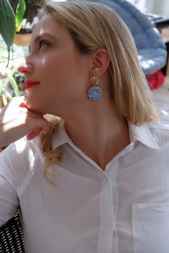 New: Crystal effect blue/grey round chandelier porcelain dangle earrings