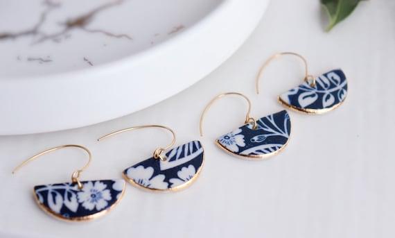 New Dark blue semicircle hook porcelain dangle earrings