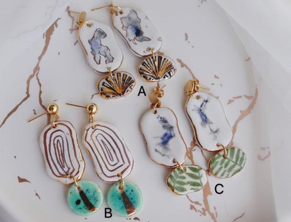 Watercolor painted porcelain dangle earrings