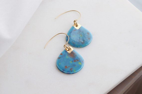 Blue /gold dip porcelain earrings
