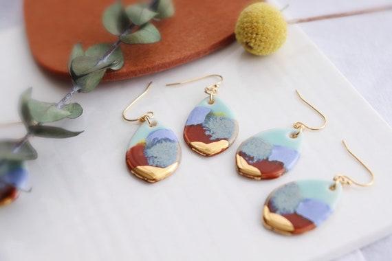 Multicolore teardrop porcelain dangle earrings, gift for her, ceramic, jewelry