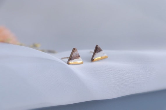 Marble triangle  Gold dipped porcelain studs /22kt gold luster