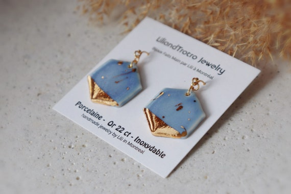 Hexagon gold splashed lavender porcelain earrings