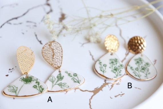 Green flowers porcelain earrings