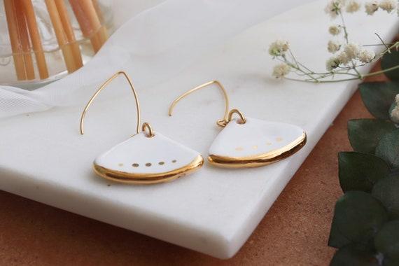 Fan shaped gold dipped white porcelain  Dangle Earrings