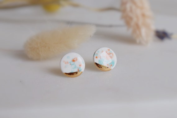 Dainty round water color pattern porcelain studs