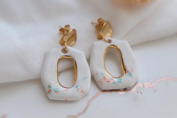 White organic shape  porcelain dangle earrings