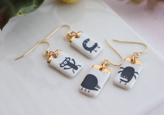 Monsters party small  porcelain dangle earrings, gift for her, ceramic, jewelry