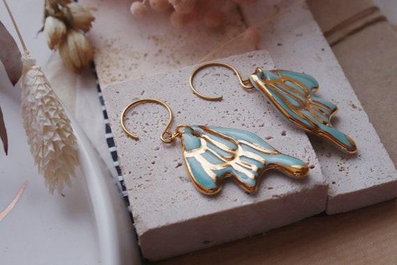 Light Turquoise butterfly porcelain dangle earrings