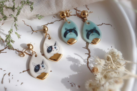 Medium Cat ladies porcelain dangle earrings, gift for her, ceramic, jewelry, cats