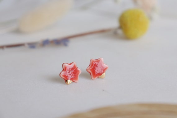 Red flower porcelain studs