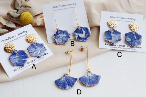 Blue Ginkgo porcelain  earrings