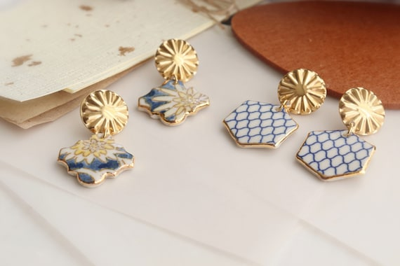 Hexagon Porcelain dangle earrings