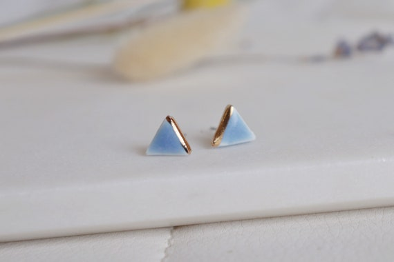 Baby blue/yellow dots triangle porcelain studs