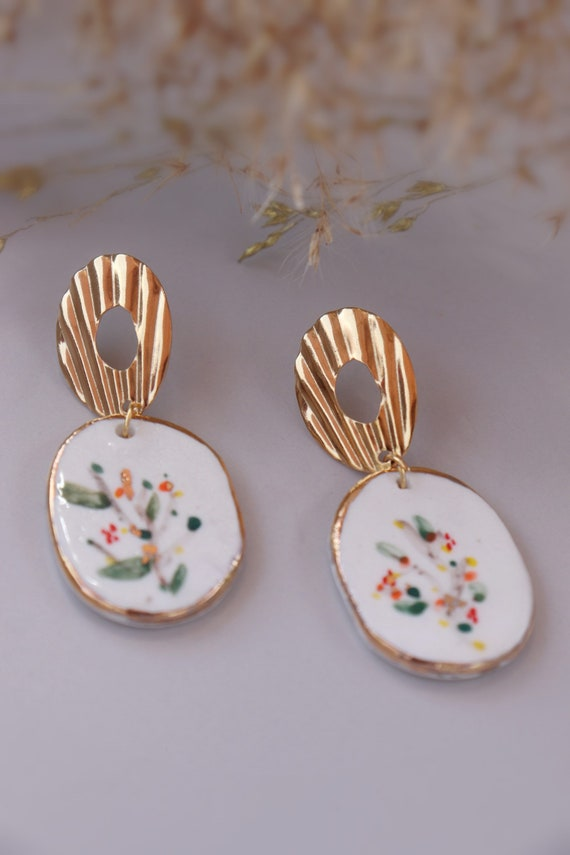 Water-colour painted Porcelain gold rimmed Dangle Earrings