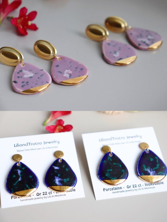 Royal blue/ Lilac  porcelain dangle earrings