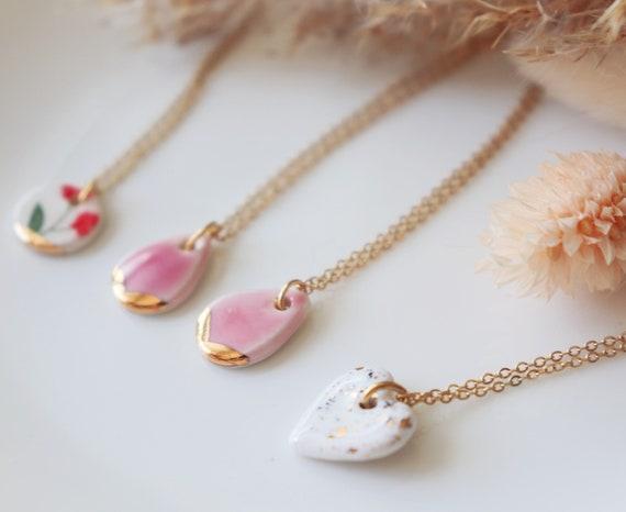 Dainty porcelain necklaces
