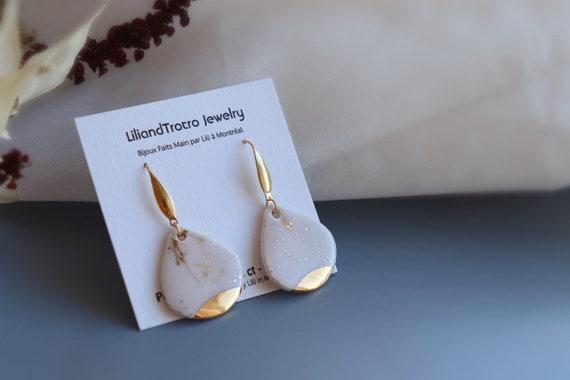 Flower petal Dangle porcelain Earrings
