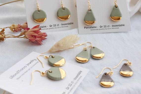 Matt teardrop gold dipped porcelain dangling earrings