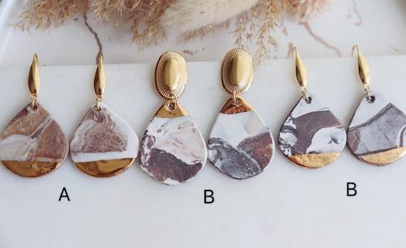 Matte Marble porcelain dangle earrings