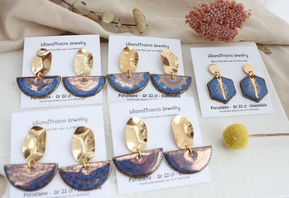 Blue golden Mandalas pattern earring