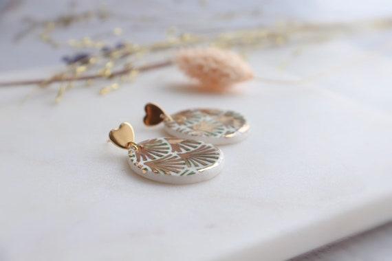 Round Green fan Dangle Earrings, Statement Jewelry,