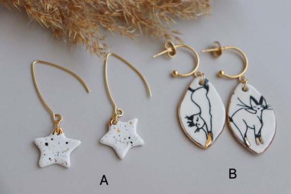 Stars  and cats  porcelain studs