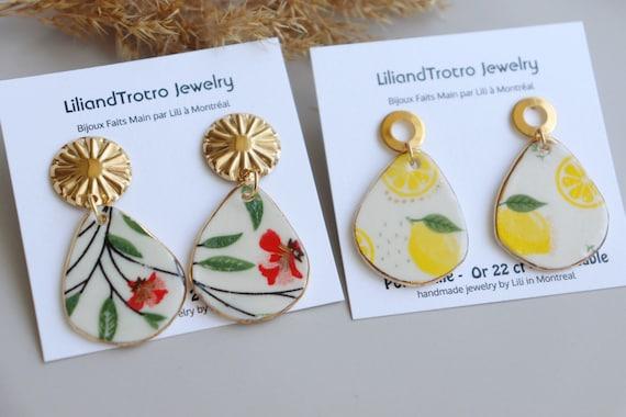 Ted flowers/ Lemons porcelain dangle earrings