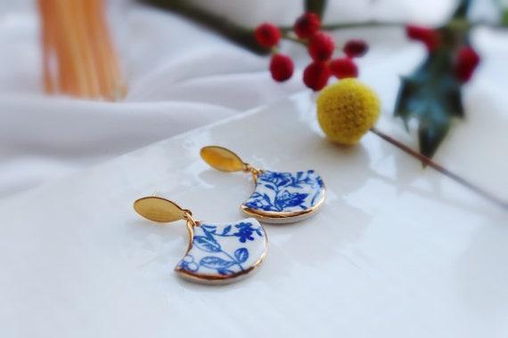 blue  floral porcelain dangle earrings