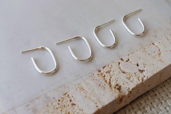 Paper clip inspired  3/4 hoop studs