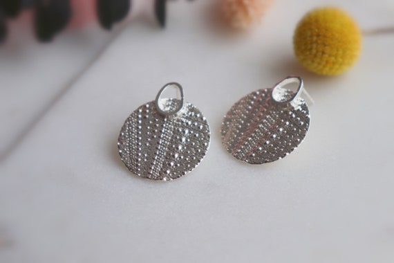 Textured sterling silver studs earrings