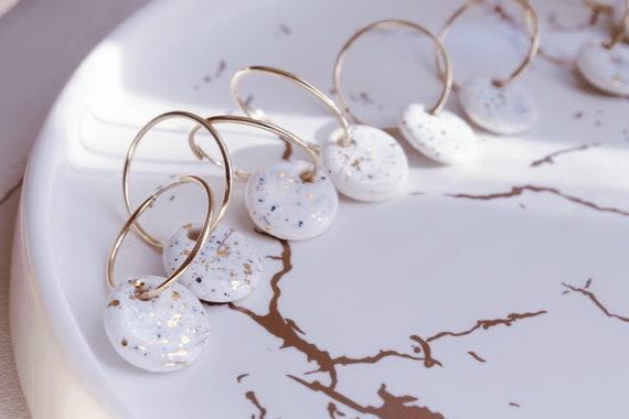 14kt Gold filled infinite hoops white marble gold splashed porcelain earrings, ceramic