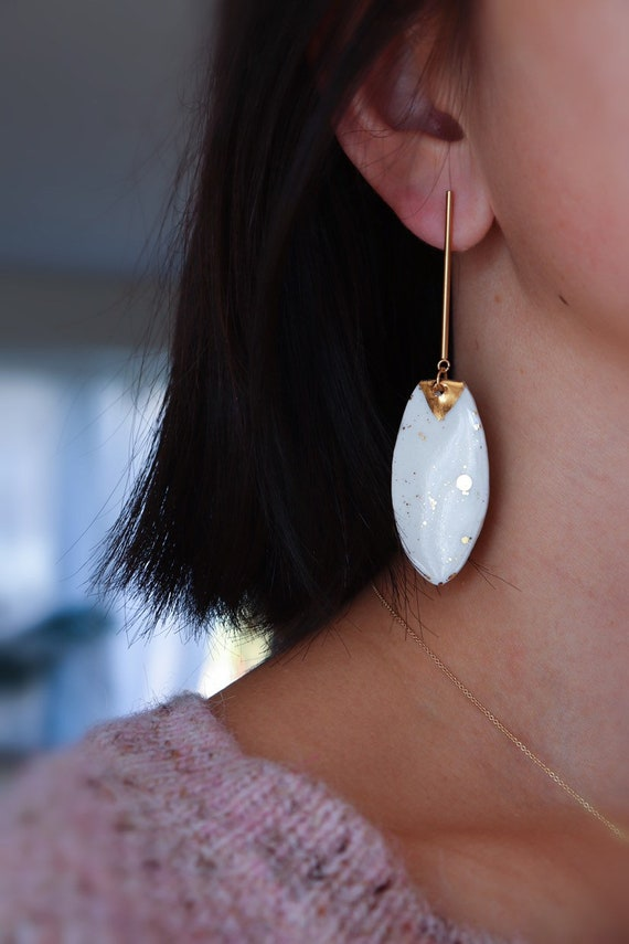 Long leave shape statement Dangle porcelain Earrings