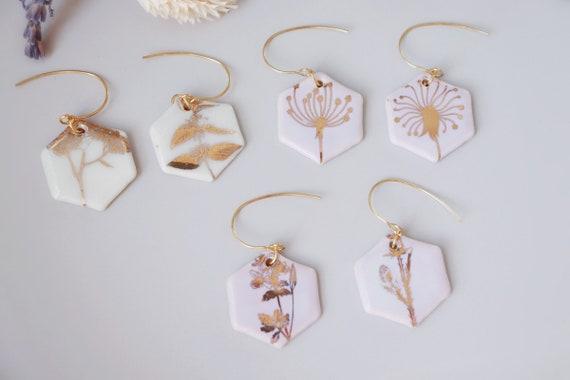 Gold plants  porcelain dangle earrings