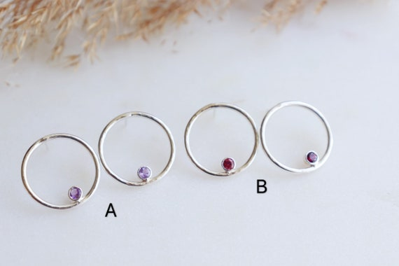 Minimalist circle studs with birth stones