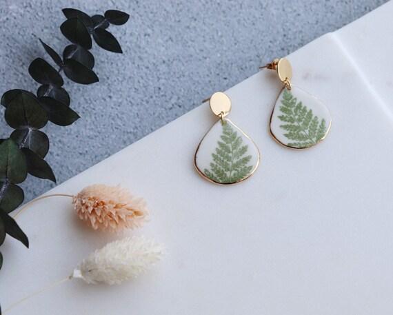 Tear drop gold rimmed green cedar  porcelain  Dangle Earrings