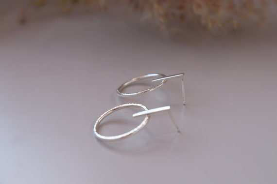 Minimal hammered texture  sterling silver earrings