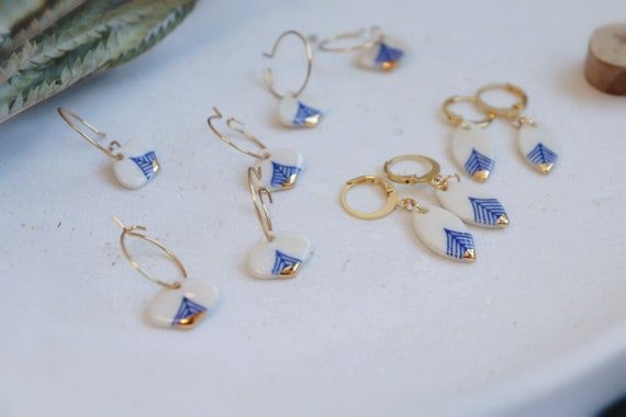 Tiny blue lines  gold dipped  porcelain  earrings