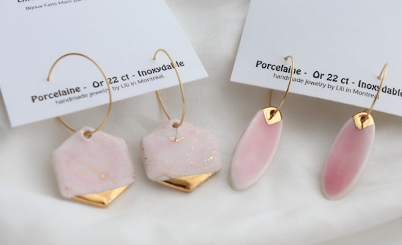 Pink glazed  porcelain dangle earrings