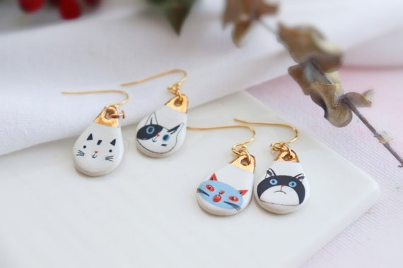 Cats small  porcelain dangle earrings, gift for her, ceramic, jewelry